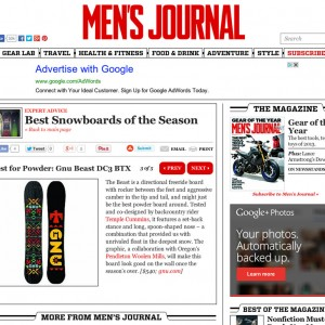 Image From Men's Journal: Best for Powder – Gnu Beast DC3 BTX